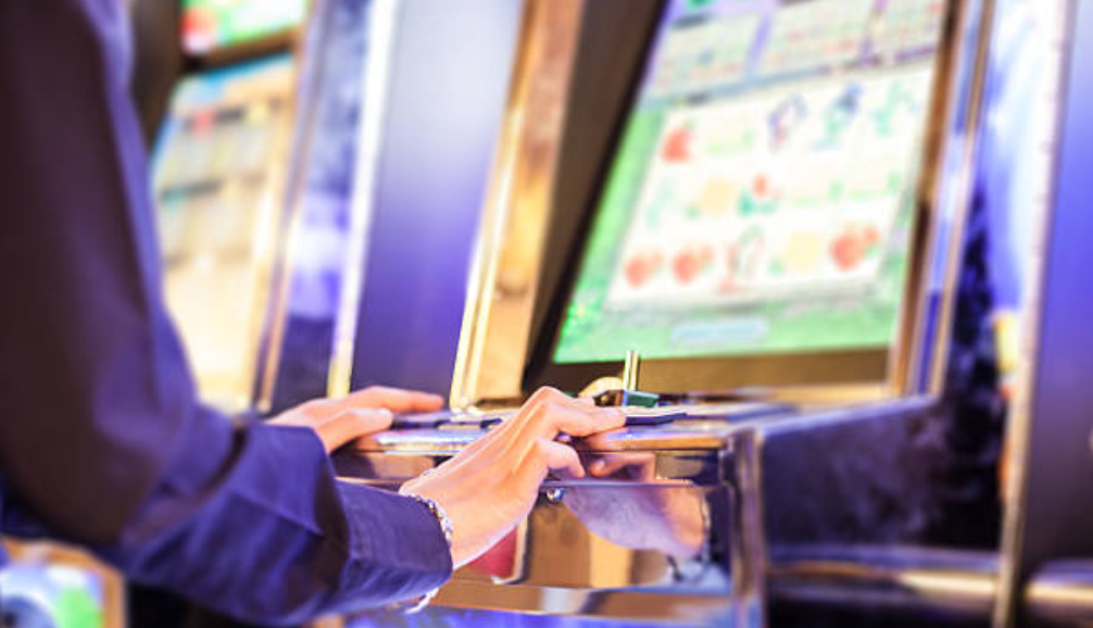 playing on casino machine